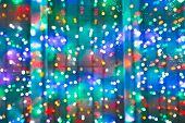 Blurred Christmas Lights On Window