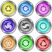 Recycle symbols set. Vector internet buttons.