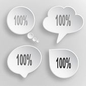 100%. White flat vector buttons on gray background.