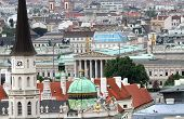 stock photo of overpopulation  - Aerial view of the city of vienna with austrian parlament - JPG