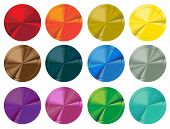 Colorful set of shiny blank buttons. Vector illustration.