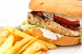 Grilled chicken burger with chips