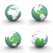 3D Globes In White And Green-blue