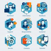 image of internet icon  - Customer service concept set with assistance information feedback decorative icons isolated vector illustration - JPG