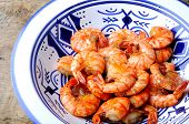 fried tiger shrimps with spices and garlic