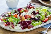 Grape With Radicchio, Rocket And Feta Cheese Salad