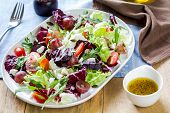 picture of rocket salad  - Grape with Radicchio Rocket and Feta cheese salad by vinaigrette - JPG