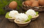 tartlets With Cheese And Egg Balls and Eggs In The Basket.
