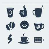 Symbols of coffee and energy