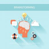 Brainstorm process concept in flat design