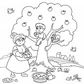 Mom and son with apple tree