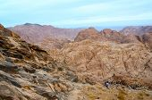 Egypt, Sinai Mountains. People Go Down From The Top Of Mount Moses