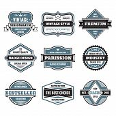 Vector graphic badges collection. Original vintage badges. Creative logo vector set. Vector retro la