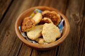 Homemade Cookies In Wooden Bowl