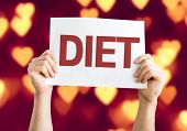 Diet card with heart bokeh background