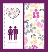 Vector abstract pink, yellow and gray leaves couple in love silhouettes frame pattern invitation gre