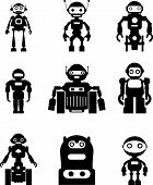 Set of silhouette robots