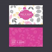 Vector abstract pink, yellow and gray leaves horizontal frame pattern business cards set
