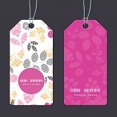 Vector abstract pink, yellow and gray leaves vertical round frame pattern tags set