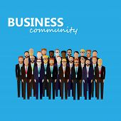 vector flat  illustration of business or politics community. a large group of business men