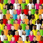 vector seamless pattern with men crowd. flat  illustration of men community