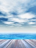 Concept or conceptual old wood or wooden deck on coast of exotic blue clear sea or ocean waves and sky vacation or tourism background