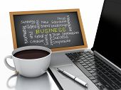 3d chalkboard, cup of coffee and laptop pc. business concept