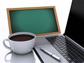 3D Chalkboard, Cup Of Coffee And Laptop On White Background
