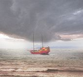 picture of pressure vessel  - Sailing vessel in the open stormy sea - JPG