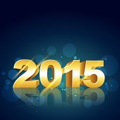 vector stylish background of new year 2015 in gold with circles at the back