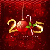 2015 new year design with christmas ball and candy placed on red shiny background covered with circles