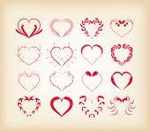 set of decorative floral hearts