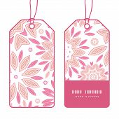 Vector pink abstract flowers vertical stripe frame pattern tags set