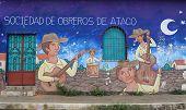 Brightly coloured mural, Ataco, El Salvador