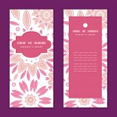 Vector pink abstract flowers vertical frame pattern invitation greeting cards set