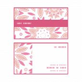 Vector pink abstract flowers horizontal stripe frame pattern business cards set