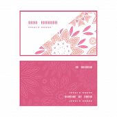 Vector pink abstract flowers horizontal corner frame pattern business cards set