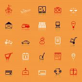 International Business Line Icons With Reflect