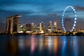Singapore's Skyline At Night
