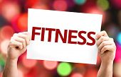 Fitness card with colorful background with defocused lights