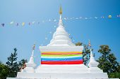 White Pagoda Decoration With Multicolour Ribbon In Nan Province Thailand