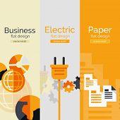 Set of flat design concepts - paper, business, electricity