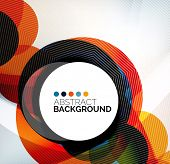 Colorful circles modern abstract composition with shadows and text. Geometric background