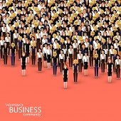 vector flat illustration of women business community. a crowd of business women or politicians.