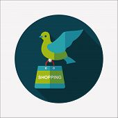 Bird And Shopping Paper Bag Flat Icon With Long Shadow,eps10