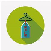 Shopping Clothes Hanger Flat Icon With Long Shadow,eps10