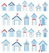 stock photo of beach hut  - A set of hand drawn blue  - JPG