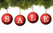 Christmas sale banner advertisement - red baubles with pine branches
