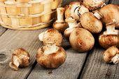 Raw fresh mushrooms with a basket