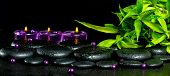 Spa Concept Of Zen Basalt Stones With Drops, Lilac Candles, Beads And Bamboo, Panorama